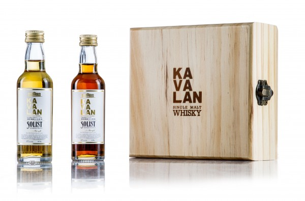 Kavalan Miniaturset in Holzbox Solist Sherry & Solist Bourbon