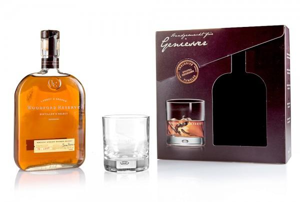 Woodford Reserve Distillers Select mit Tumbler in Geschenkverpackung