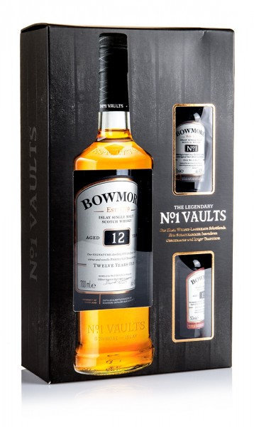 Bowmore 12 years including 2 miniatures 15 yrs and Vault no. 1 in gift packaging